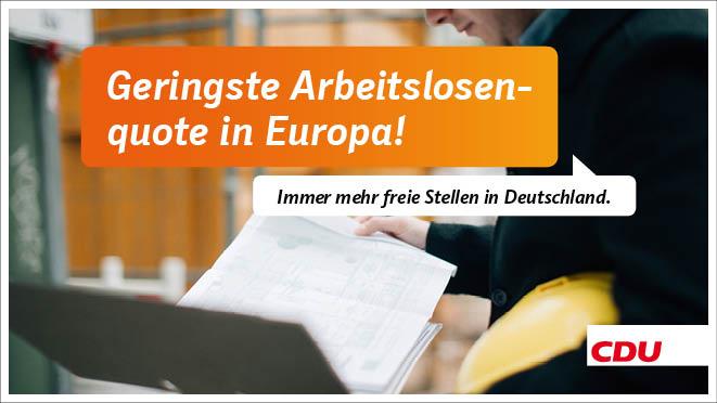 geringste arbeitslosenquote in europa christlich demokratische union deutschlands. Black Bedroom Furniture Sets. Home Design Ideas