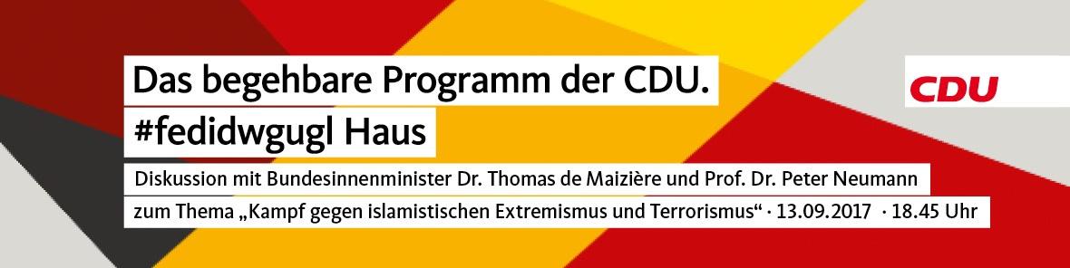 """Banner: Podiumsdiskussion zum Thema """"Kampf gegen islamistischen Extremismus und Terrorismus"""""""