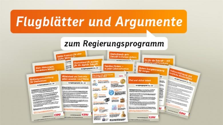 Flugblätter und Argumente zum Regierungsprogramm