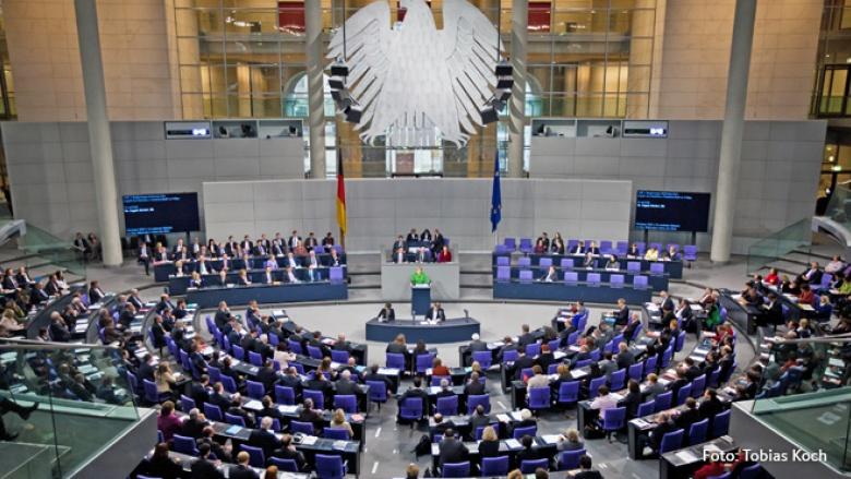 Foto von Angela Merkel im Deutschen Bundestag
