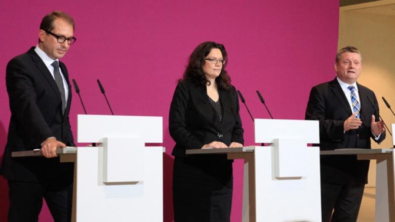 Foto der Pressekoinferenz nach den Koalitionsverhandlungen von CDU, CSU und SPD