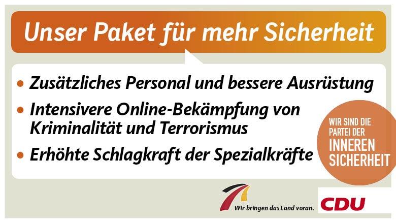 CDU legt Paket für mehr Sicherheit vor