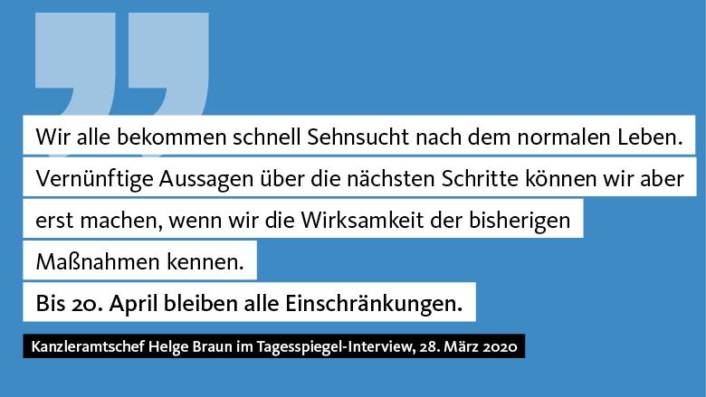 Helge Braun: Bis 20. April bleiben alle Maßnahmen bestehen