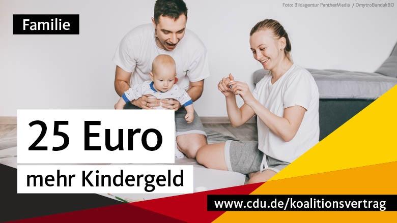 Familie: 25 Euro mehr Kindergeld