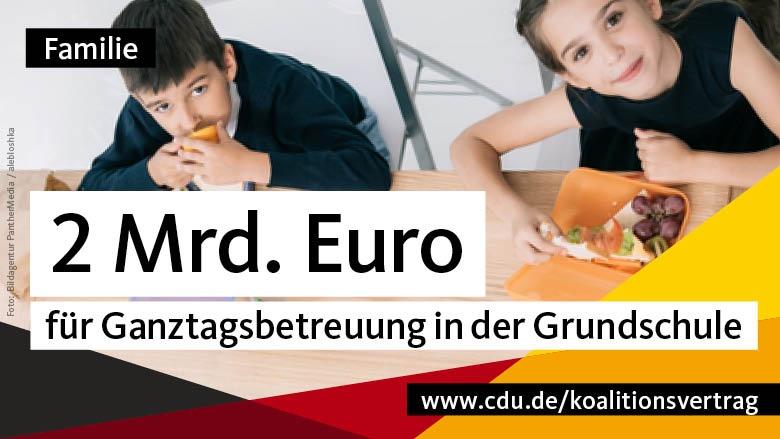 Familie: 2 Mrd. Euro für Ganztagsbetreuung in der Grundschule