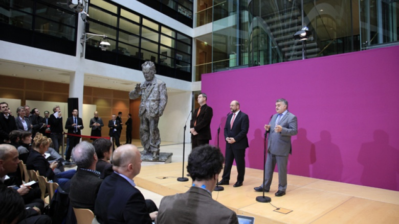 Markus Söder (CSU), Martin Schulz (SPD) und Herbert Reul (CDU) nach der zweiten Großen Runde im Willy-Brandt-Haus