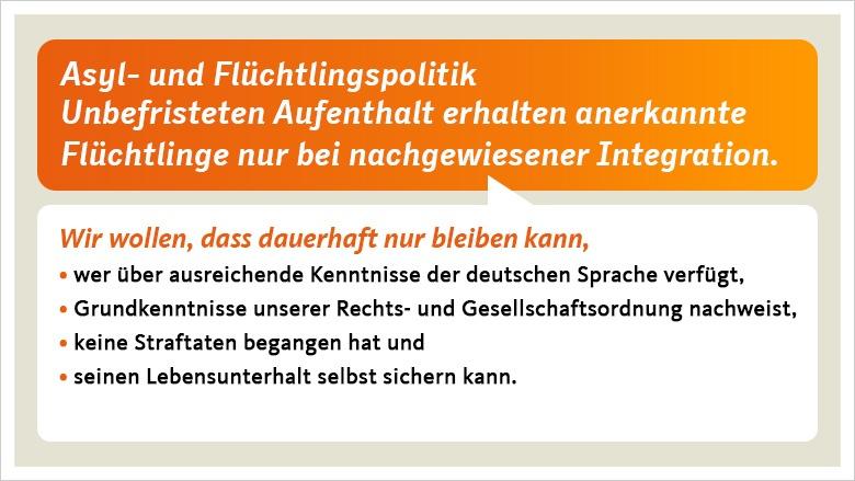 Ein langfristiges Bleiberecht soll an Grundkenntnisse der deutschen Sprache, die Bereitschaft, zu arbeiten, und die erfolgreiche Teilnahme an Integrationskursen geknüpft sein.