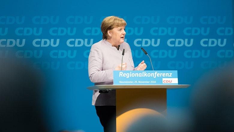 Angela Merkel bei der Regionalkonferenz in Neumünster