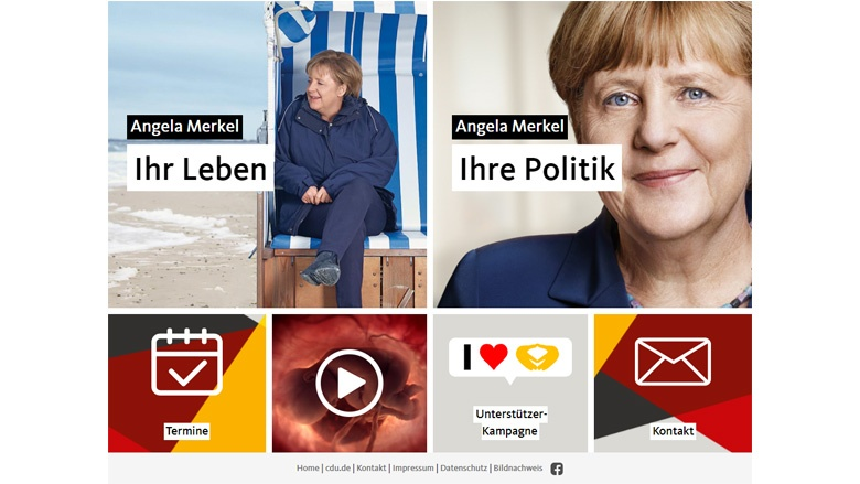 Screenshot der neuen Website von angela-merkel.de