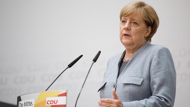 Angela Merkel bei der Pressekonferenz nach der Bundestagswahl