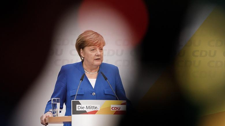 Angela Merkel während der Pressekonferenz