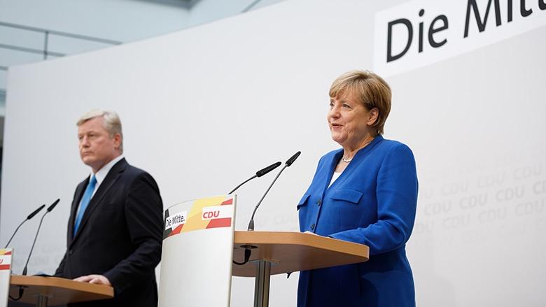Bernd Althusmann und Angela Merkel bei der Pressekonferenz