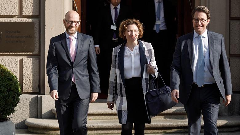 Die Generalsekretäre von CDU, FDP und CSU, Peter Tauber, Nicola Beer und Andreas Scheuer