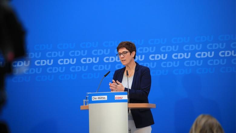 Generalsekretärin Annegret Kramp-Karrenbauer bei der Pressekonferenz