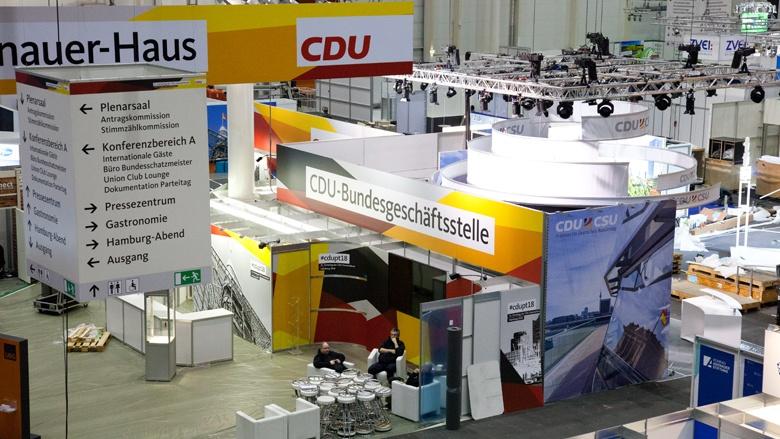 Aufbau 31. Parteitags der CDU