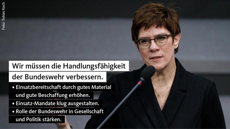 Bundesverteidigungsministerin und Parteivorsitzende Annegret Kramp-Karrenbauer will die Bundeswehr schlagkräftiger machen.