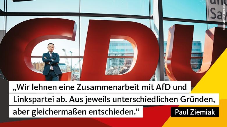 """Paul Ziemiak: """"Wir lehnen eine Zusammenarbeit mit AfD und Linkspartei ab. Aus jeweils unterschiedlichen Gründen, aber gleichermaßen entschieden."""""""
