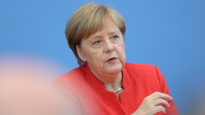 Die CDU-Vorsitzende und Bundeskanzlerin Dr. Angela Merkel vor der Bundespressekonferenz in Berlin