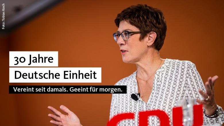 AKK: gesamtdeutsche CDU und Wiedervereinigung sind Erfolgsgeschichte