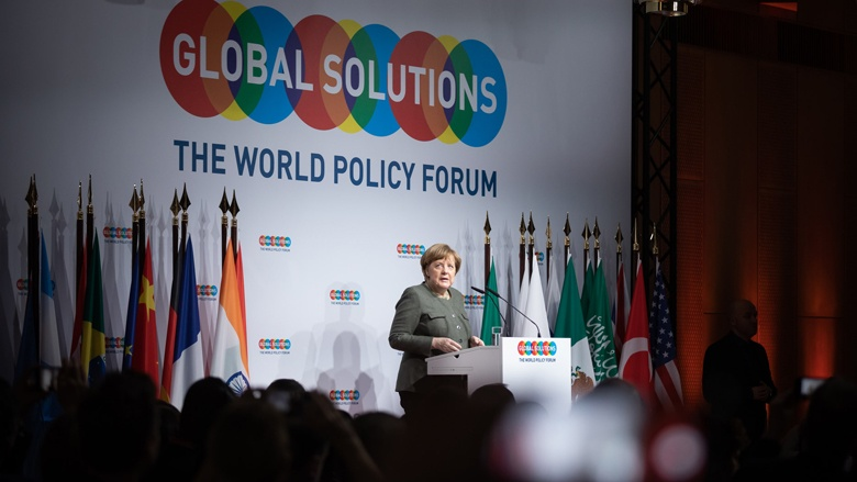 Das Bild zeigt Bundeskanzlerin Angela Merkel beim Global Solution Summit in Berlin 2019