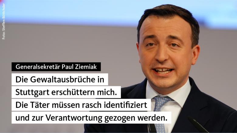 CDU verurteilt Krawalle in Stuttgart aufs Schärfste