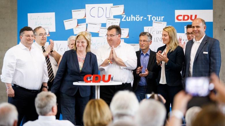 Die nordhessischen CDU-Landtagskandidaten um Staatsministerin Eva Kühne-Hörmann und Staatssekretär Mark Weinmeister