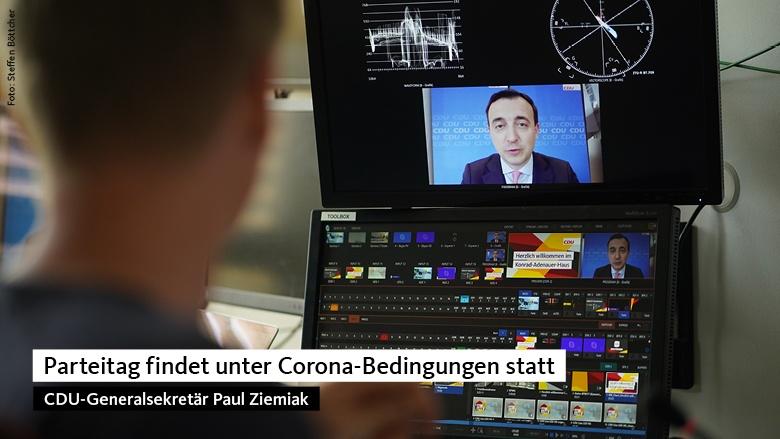 Paul Ziemiak bei der virtuellen Pressekonferenz