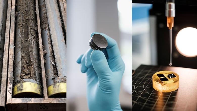 Das Abraummaterial aus den Bohrkernen wird zerkleinert und vielfältigen Untersuchungen unterzogen.