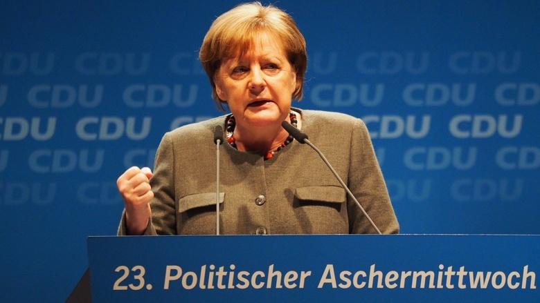Angela Merkel während ihrer Rede zum politischen Aschermittwoch der CDU Mecklenburg-Vorpommern