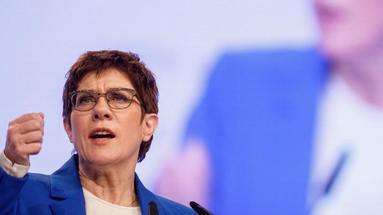 CDU-Vorsitzende Annegret Kramp-Karrenbauer während ihrer Rede auf dem 32. Parteitag der CDU Deutschlands in Leipzig