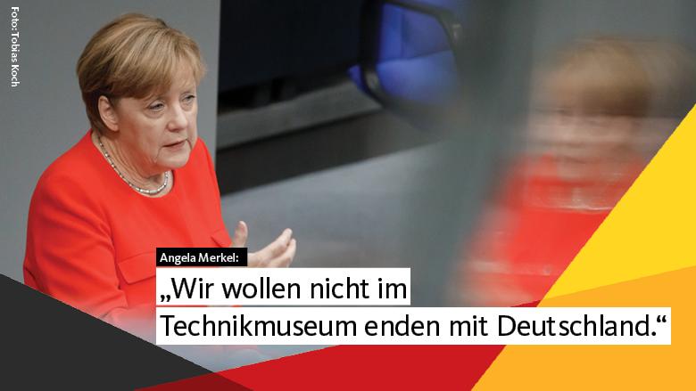 """Flugblatt: """"Merkel: Jetzt die Weichen für eine gute Zukunft stellen"""""""