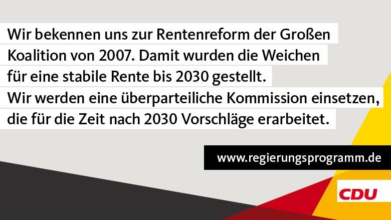 CDU bekennt sich zur Rentenreform der Großen Koalition