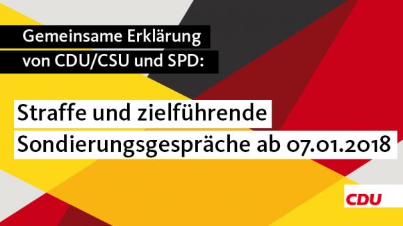 Gemeinsame Erklärung von CDU/CSU und SPD  zum heutigen Treffen der Partei- und Fraktionsvorsitzenden