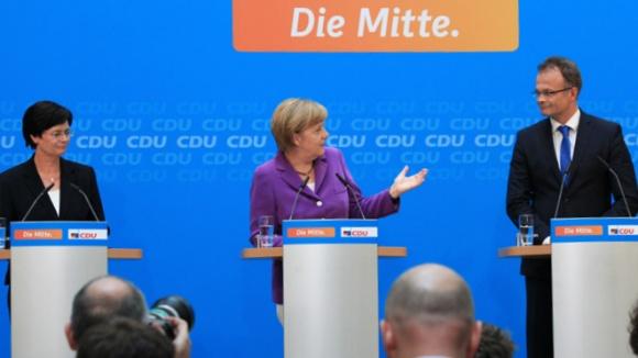 Gemeinsame Pressekonferenz mit Christine Lieberknecht, Angela Merkel und Michael Schierack nach den Landtagswahlen