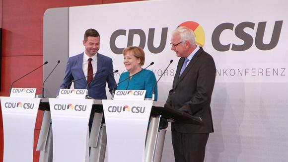 Mike Mohring, Angela Merkel und Thomas Kreuzer (CSU)