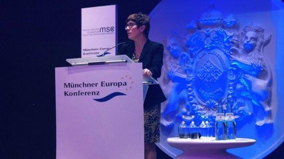 CDU-Vorsitzende Annegret Kramp-Karrenbauer während ihrer Rede im Vorfeld der Münchner Sicherheitskonferenz