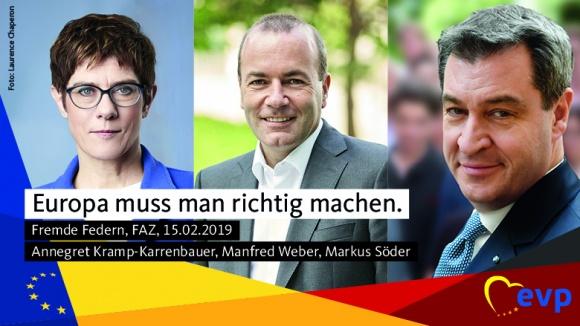 Annegret Kramp-Karrenbauer, Manfred Weber, Markus Söder