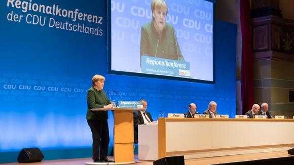 Angela Merkel bei der Regionalkonferenz in Heidelberg