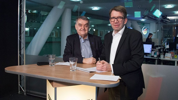 Herbert Reul bei der Videokonferenz CDU Live mit Moderator Frank Bergmann