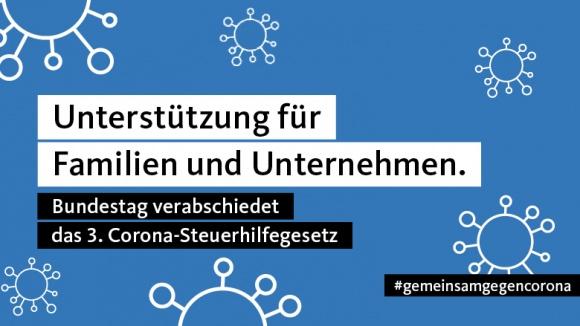 Informations-Kachel zum 3. Corona-Steuerhilfegesetz, das heute im Deutschen Bundestag verabschiedet wurde