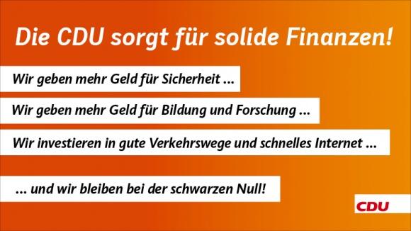 Die CDU sorgt für solide Finanzen