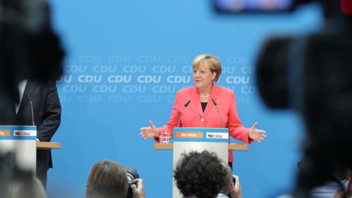 Angela Merkel bei der Pressekonferenz im Konrad-Adenauer-Haus